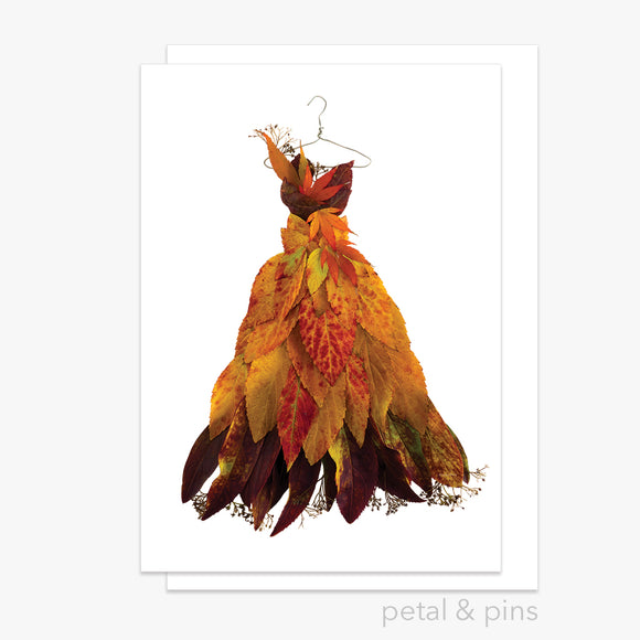 autumn leaf dress greeting card by petal & pins