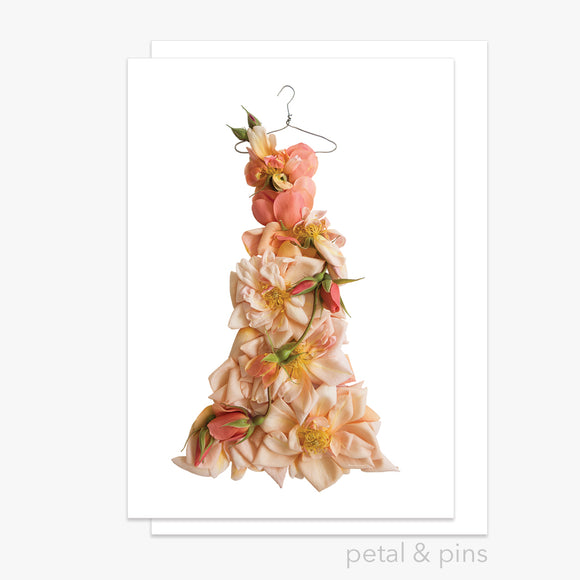 perle d'or rose dress greeting card by petal & pins