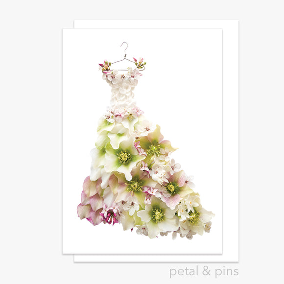 springtime dress greeting card by petal & pins