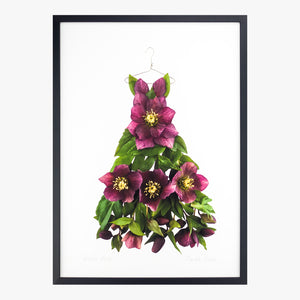 winter rose dress art print by petal & pins