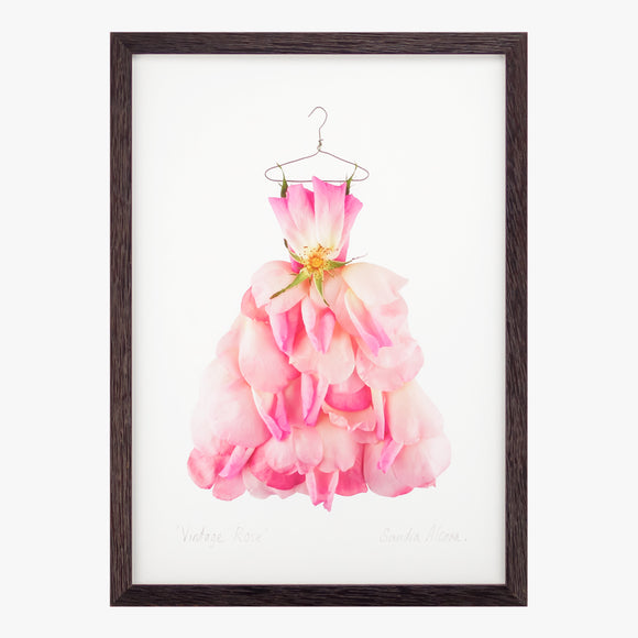 vintage rose dress art print by petal & pins