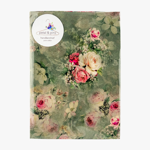 secret garden floral pure cotton handkerchief by petal & pins