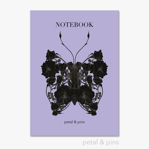 butterfly noir notebook in lavender by petal & pins