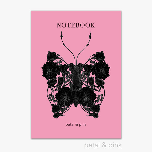 butterfly noir notebook in strawberry by petal & pins