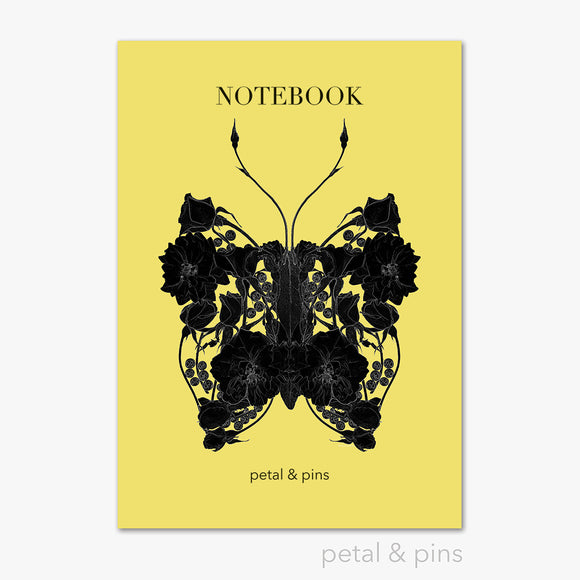 butterfly noir notebook in lemon by petal & pins