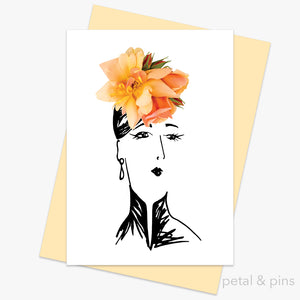 perle d'ore rose hat greeting card by petal & pins
