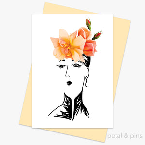 perle d'or rose hat greeting card by petal & pins