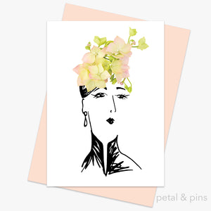 hydrangea hat greeting card by petal & pins