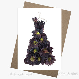 midnight hellebore dress greeting card by petal & pins