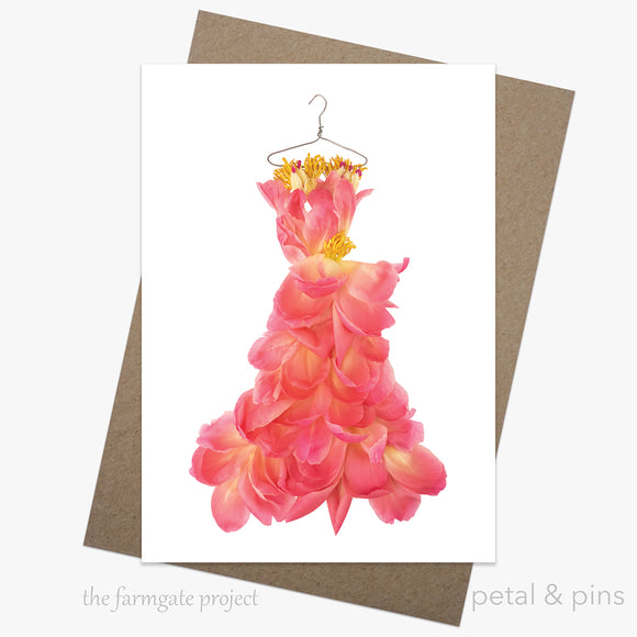coral peony tango dress greeting card by petal & pins