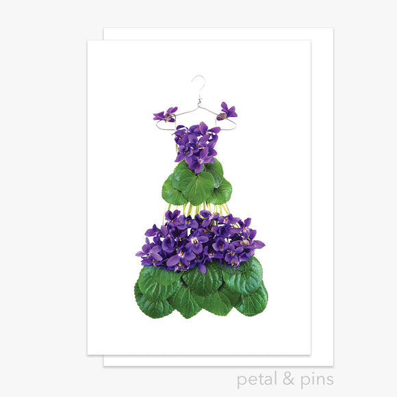 violet dress greeting card by petal & pins