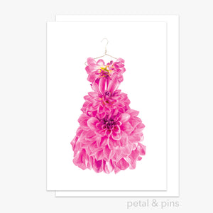 pink dahlia dress greeting card by petal & pins