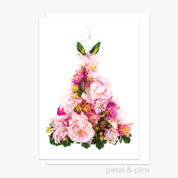 aquilegia & rose dress greeting card by petal & pins