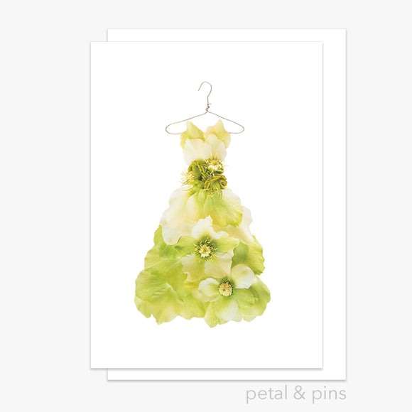 chartreuse hellebore dress greeting card by petal & pins