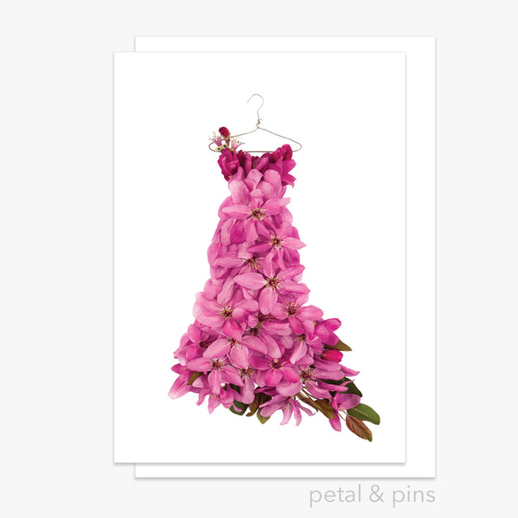 crabapple blossom dress greeting card by petal & pins