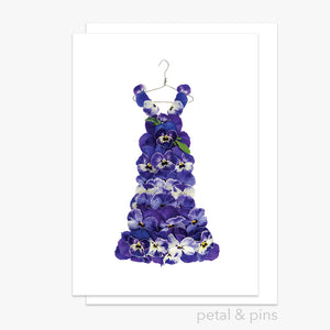purple pansy dress greeting card by  petal & pins