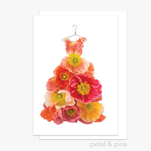 poppy dress greeting card by petal & pins