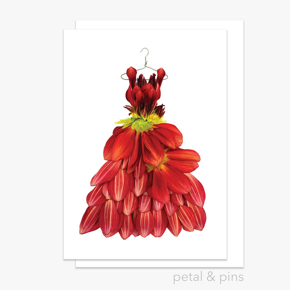 dahlia dress greeting card by petal & pins