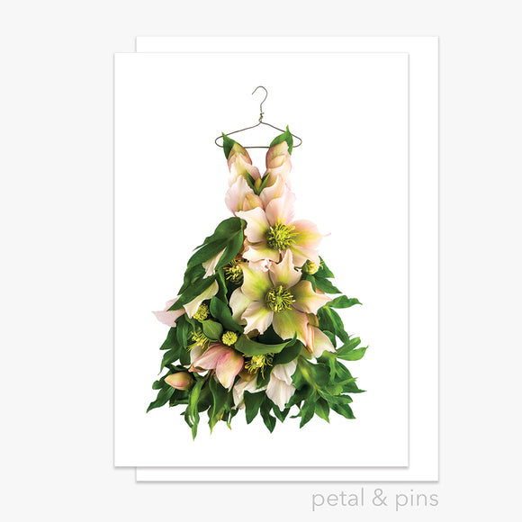 romance dress greeting card by petal & pins