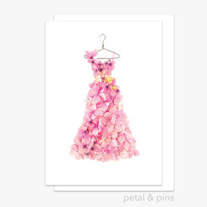 pink hydrangea high tea dress greeting card by petal & pins