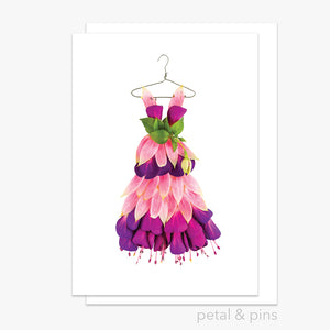 fuchsia sundress greeting card by petal & pins