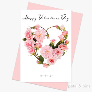 happy valentines day greeting card from the love letters collection by petal & pins