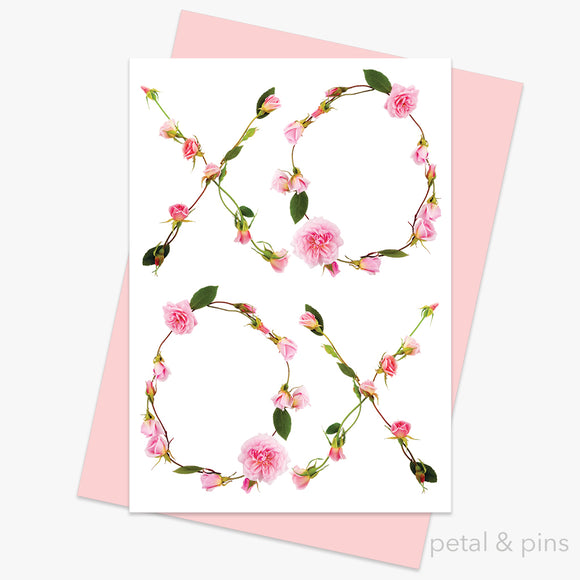 rose kisses card from the love letters collection by petal & pins