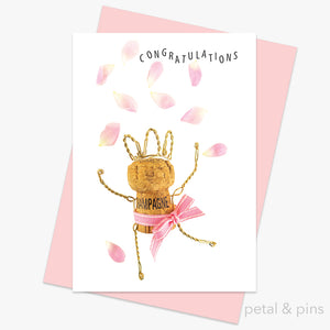 champagne girl petal confetti greeting card by petal & pins