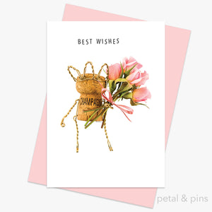 champagne girl best wishes greeting card by petal & pins