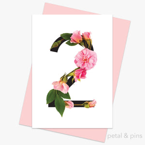 celebration roses number 2 card by petal & pins