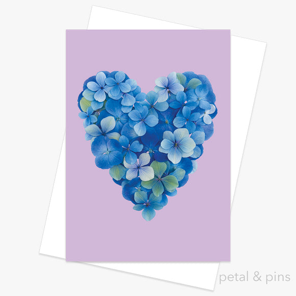 hydrangea blues greeting card by petal & pins