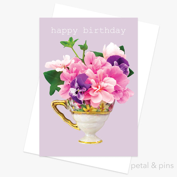 teacup bouquet greeting card by petal & pins