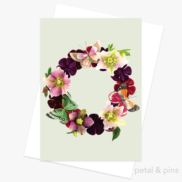 butterfly garland greeting card by petal & pins