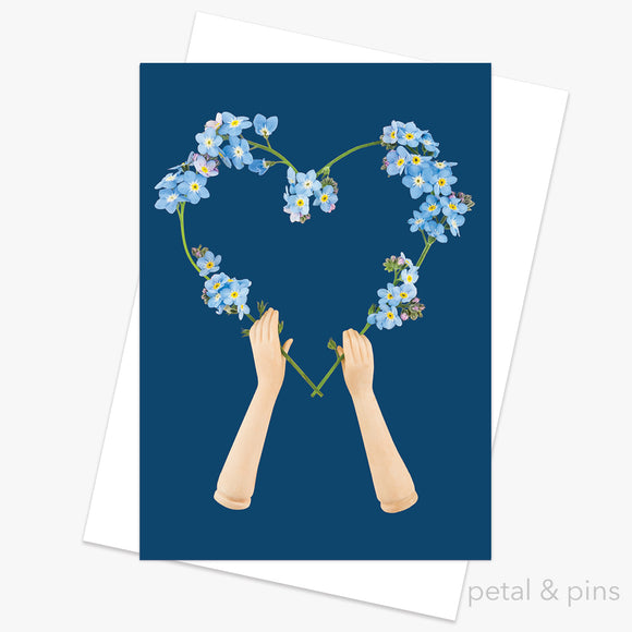 forget-me-not heart sympathy greeting card by petal & pins