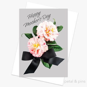Mother's Day Camellias greeting card by petal & pins