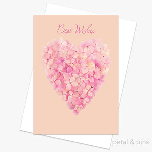 best wishes heart greeting card by petal & pins