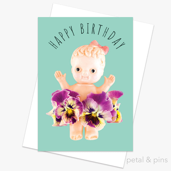 birthday kewpie doll greeting card by petal & pins