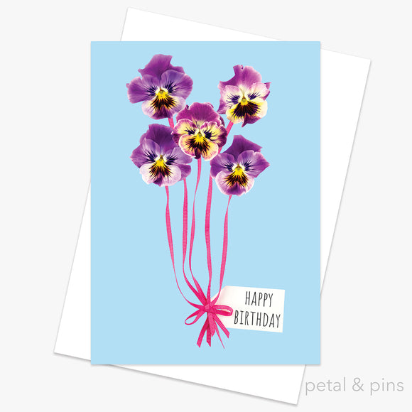 birthday balloons greeting card by petal & pins