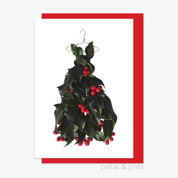 christmas holly dress style 2 card by petal & pins