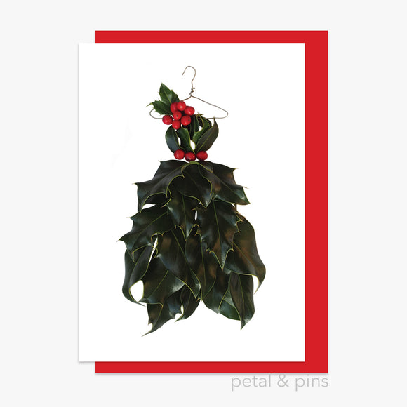 christmas holly dress style 3 card by petal & pins