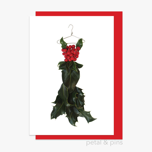 christmas holly dress style 4 card by petal & pins