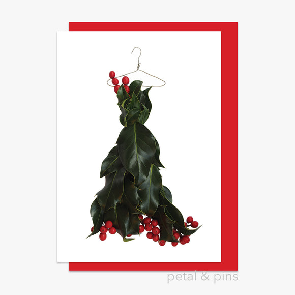 christmas holly dress style 5 card by petal & pins