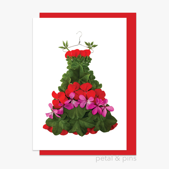 christmas geranium dress card by petal & pins
