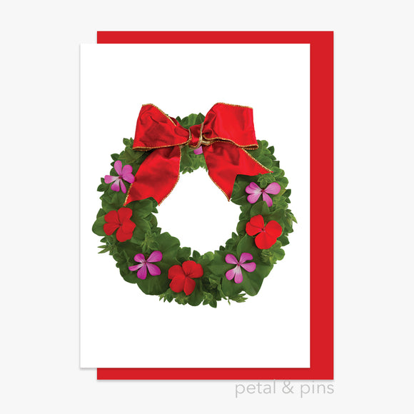 christmas geranium festive wreath card by petal & pins