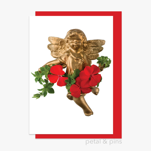 christmas geranium cherub card by petal & pins