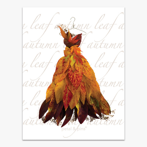 autumn leaf dress tea towel by petal & pins