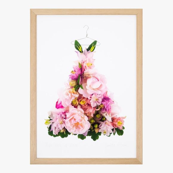 aquilegia & rose dress art print by petal & pins