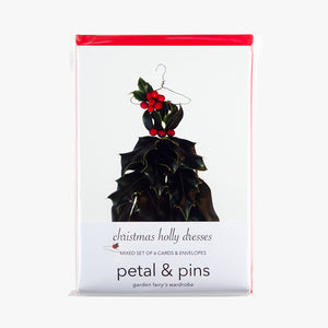 Christmas holly dresses Christmas card set by petal & pins