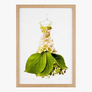 cream hydrangea gown art print by petal & pins