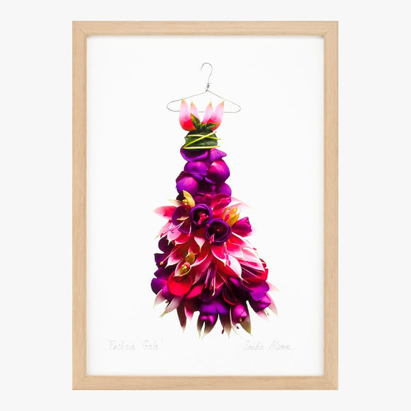 fuchsia gala dress art print by petal & pins